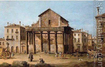 The Temple of Antoninus and Faustina in the Forum by Bernardo Bellotto (Canaletto) - Reproduction Oil Painting