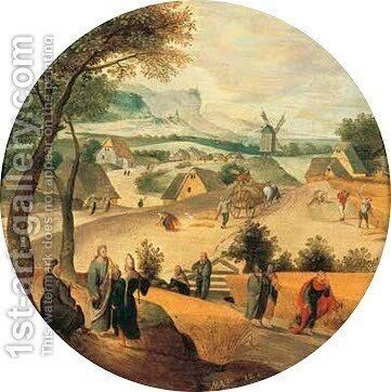 August An extensive landscape with Jesus telling the Parable of the Corn-pickers by Abel Grimmer - Reproduction Oil Painting