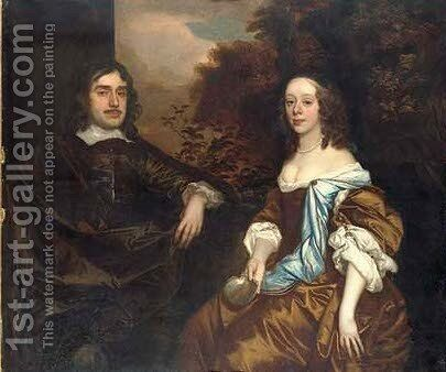 Double portrait of a gentleman and a lady, possibly members of the Temple family of Stowe by Sir Peter Lely - Reproduction Oil Painting