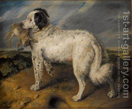 Venus, A Landseer Newfoundland With A Rabbit by Sir Edwin Henry Landseer - Reproduction Oil Painting