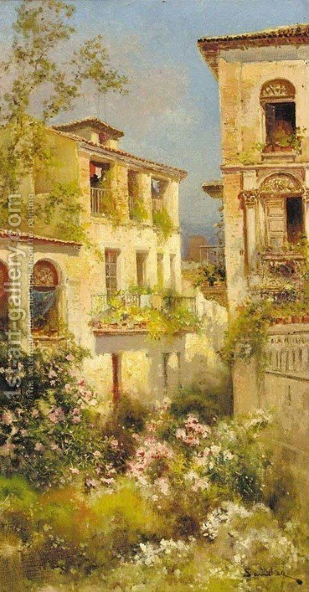 A Spanish villa by Alonso Sanchez Coello - Reproduction Oil Painting