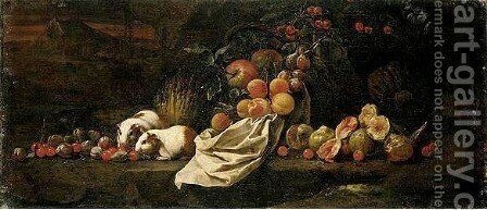 A Still Life Of Figs, Cherries And Plums, A Melon, Peaches, Plums And Apples Tipping From A Basket, Together With Two Guinea-Pigs by Giovanni Battista Ruoppolo - Reproduction Oil Painting