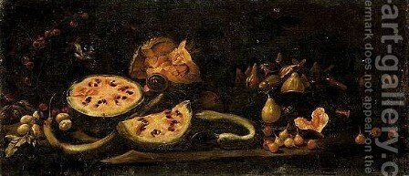A Still Life Of Water-Melons, Plums, Cherries, A Basket Of Figs, Pears And A Monkey by Giovanni Battista Ruoppolo - Reproduction Oil Painting