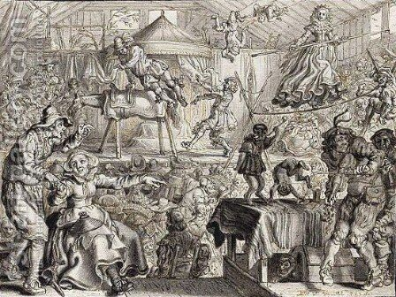 Interior Of A Circus Tent, With A Man Performing On A Vaulting Horse by Adriaen Pietersz. Van De Venne - Reproduction Oil Painting