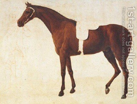 Study Of A Saddled Horse Held By A Man At The Bridle by Jacques Laurent Agasse - Reproduction Oil Painting