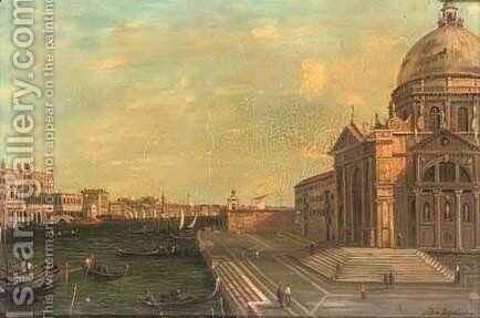 The steps of Santa Maria della Salute, Venice by (Giovanni Antonio Canal) Canaletto - Reproduction Oil Painting