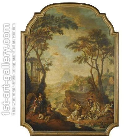 A Wooded River Landscape With A Hunting Party In The Foreground by Giovanni Battista Tiepolo - Reproduction Oil Painting