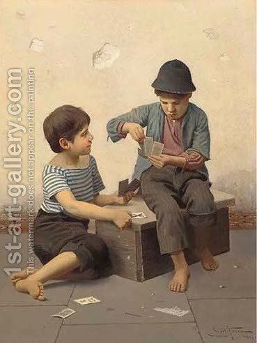 Boys playing cards by Giulio Del Torre - Reproduction Oil Painting