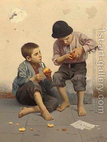 Boys peeling oranges by Giulio Del Torre - Reproduction Oil Painting