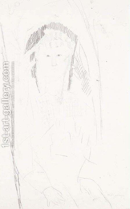 Petite fille assise by Amedeo Modigliani - Reproduction Oil Painting