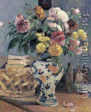 Still life with flowers in crockery vase by Camille Pissarro - Reproduction Oil Painting
