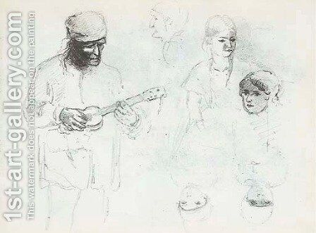 A man playing a small guitar with studies of a woman and a boy by Camille Pissarro - Reproduction Oil Painting