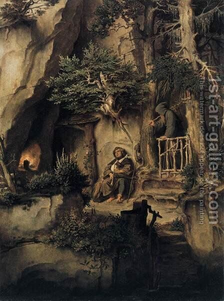 Hermit Saints Triptych by Hieronymous Bosch - Reproduction Oil Painting