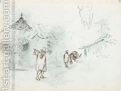 Two huts in the mountains, with a man leading a donkey by Camille Pissarro - Reproduction Oil Painting
