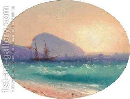 Sunset at sea off Ayu Dag, Crimea by Ivan Konstantinovich Aivazovsky - Reproduction Oil Painting