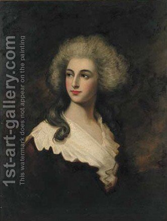 Portrait of a lady, quarter-length, in a brown dress and white wrap by Thomas Gainsborough - Reproduction Oil Painting