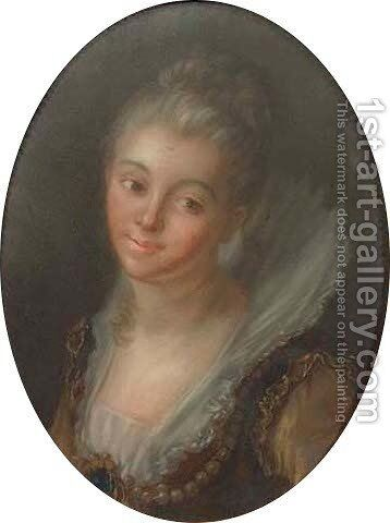 Portrait of an elegant lady, bust-length, wearing an ochre dress, with pearls by Jean-Honore Fragonard - Reproduction Oil Painting
