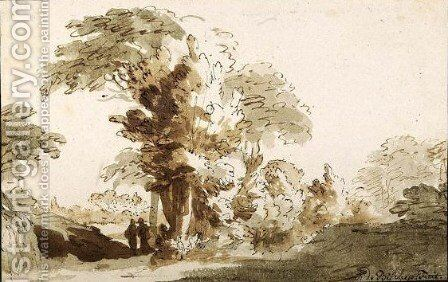 A Wooded Landscape Near Rijswijk, With Two Figures By A Tall Tree by Jan de Bisschop - Reproduction Oil Painting