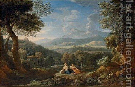 An extensive Italianate landscape with herdsmen resting near a path by Jan Frans van Orizzonte (see Bloemen) - Reproduction Oil Painting
