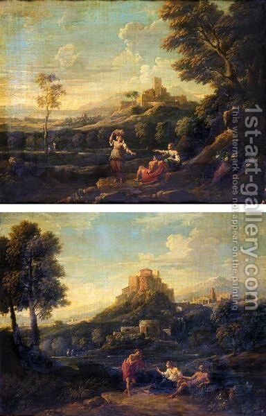 Classical Landscapes With Figures In The Foreground And Hill-Top Towns Beyond by Jan Frans van Orizzonte (see Bloemen) - Reproduction Oil Painting