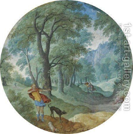 Wooded Landscape With Silvio And Dorinda by Hans Bol - Reproduction Oil Painting