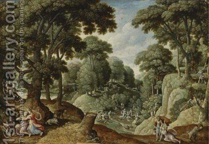 A Hilly Wooded Landscape by Hans Bol - Reproduction Oil Painting
