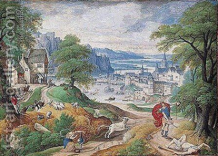 Mountainous River Landscape With Juno And The Peacock, And Mercury Holding The Head Of Argus In The Foreground by Hans Bol - Reproduction Oil Painting