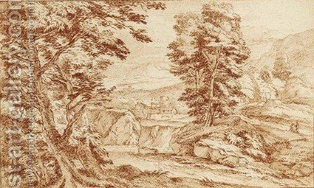 A Southern Mountainous Landscape With A Small Village And Figures To The Right Resting by Adriaen Frans Boudewijns - Reproduction Oil Painting