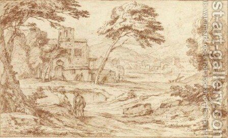 A Southern Landscape With Men In The Foreground And Other Figures Near A Building, Next To A Pond by Adriaen Frans Boudewijns - Reproduction Oil Painting