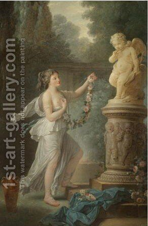 A Young Lady Offering A Garland Of Flowers To A Statue Of Cupid by Antoine-Francois Callet - Reproduction Oil Painting