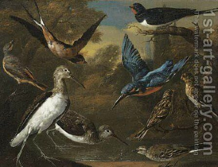 Ornamental Birds In A Landscape by Charles Collins - Reproduction Oil Painting