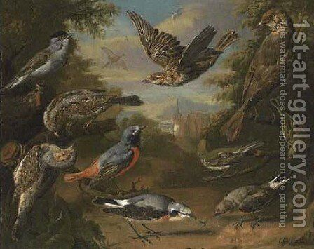 Ornamental Birds In A Landscape 2 by Charles Collins - Reproduction Oil Painting