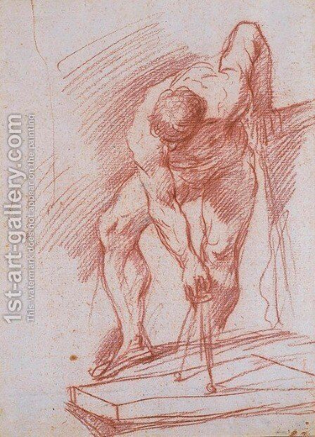 A nude tracing a circle with a compass by Giuseppe Maria Crespi - Reproduction Oil Painting