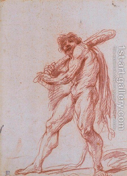 Hercules holding a club by Giuseppe Maria Crespi - Reproduction Oil Painting