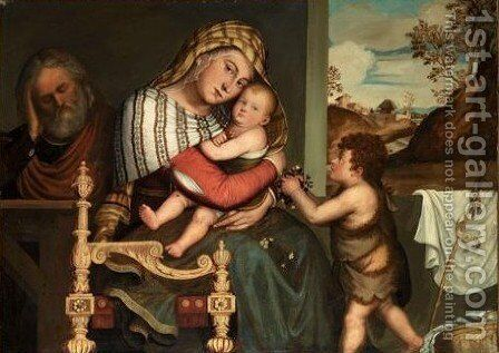 The Holy Family With The Infant Saint John The Baptist by Niccolo Frangipane - Reproduction Oil Painting
