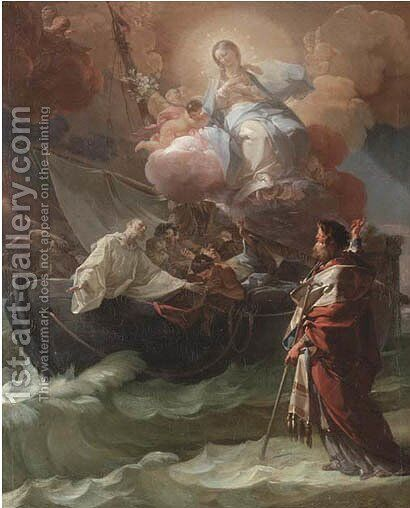 Saint Nicholas of Bari miraculously saving the victims of a shipwreck by Corrado Giaquinto - Reproduction Oil Painting