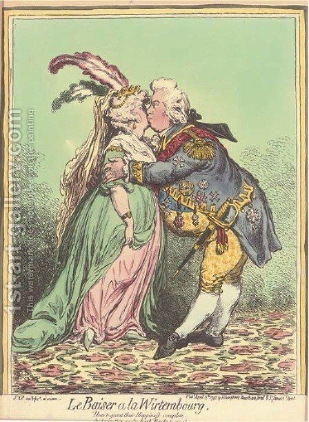 Le Baiser a la Wirtembourg 3 by James Gillray - Reproduction Oil Painting