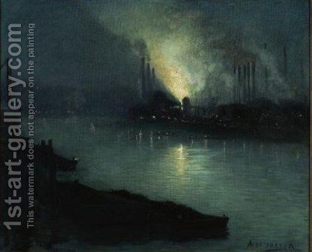 Pittsburgh Steel Mills At Night by Aaron Harry Gorson - Reproduction Oil Painting