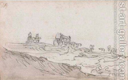 Travellers with horses and a carriage in a dune landscape by Jan van Goyen - Reproduction Oil Painting