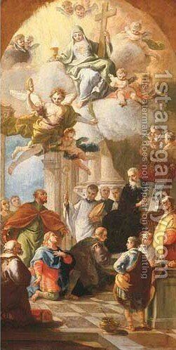 Saint Benedict giving his Rule by Daniel Gran - Reproduction Oil Painting