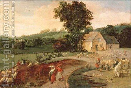 Summer a landscape with peasants, cattle and sheep by a farm house by Jacob Grimmer - Reproduction Oil Painting