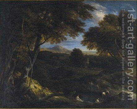 Extensive Classical Landscape With Figures Bathing In The Foreground by Cornelis Huysmans - Reproduction Oil Painting