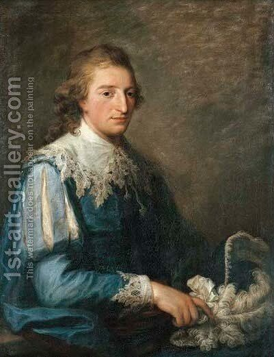 Portrait of John Murray, half-length, in van Dyck costume, holding a plumed hat by Angelica Kauffmann - Reproduction Oil Painting