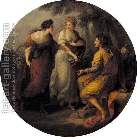 Design Directed By Beauty To Give Her Allegiance To Poetry by Angelica Kauffmann - Reproduction Oil Painting