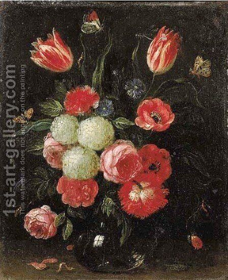 Roses, tulips, carnations and other flowers in glass vases on stone ledges with butterflies and a caterpillar nearby 2 by Jan van Kessel - Reproduction Oil Painting