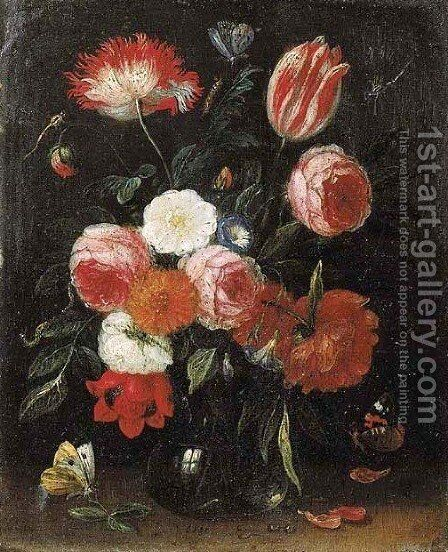 Roses, tulips, carnations and other flowers in glass vases on stone ledges with butterflies and a caterpillar nearby by Jan van Kessel - Reproduction Oil Painting