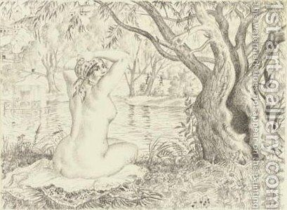 Female nude in a landscape by Boris Kustodiev - Reproduction Oil Painting