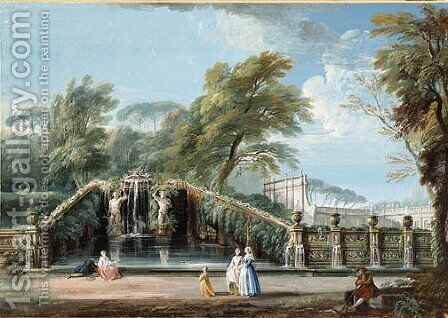The Garden of a Roman Villa with Figures by a Fountain decorated with Atlanti by Jean-Baptiste Lallemand - Reproduction Oil Painting