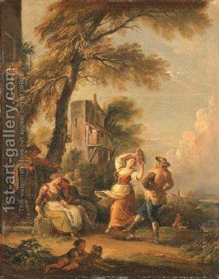 Peasants merrymaking and dancing in a landscape by Jean-Baptiste Lallemand - Reproduction Oil Painting