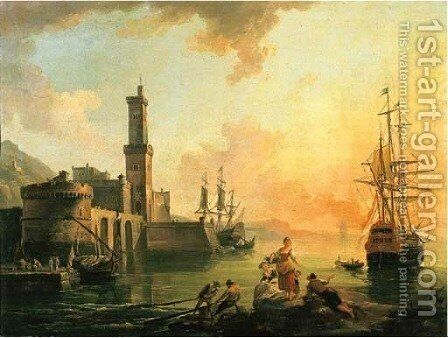Fishermen and courtesans in a Mediterranean port at sunset by Jean-Baptiste Lallemand - Reproduction Oil Painting